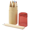 Hef 12-piece coloured pencil set with sharpener in red