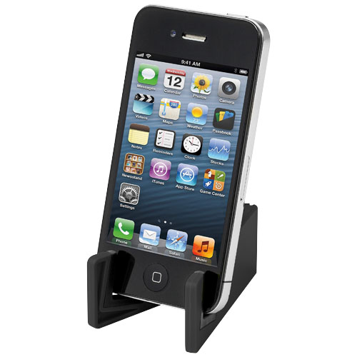 Slim device stand for tablets and smartphones in black-solid