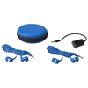 Sound off earbuds and splitter with case in blue