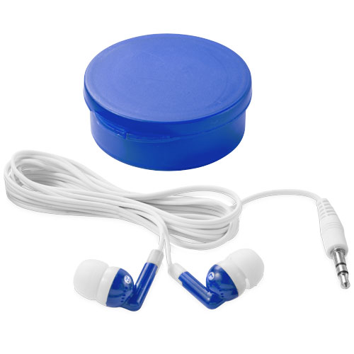 Versa earbuds in transparent-blue-and-white-solid