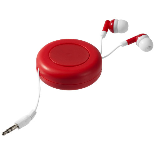 Reely retractable earbuds in red-and-white-solid