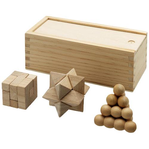 Brainiac 3 piece wooden brainteasers in wood