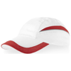 Qualifier 6 panel mesh cap in white-solid-and-red