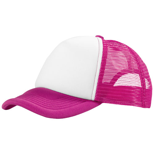 Trucker 5 panel cap in pink-and-white-solid