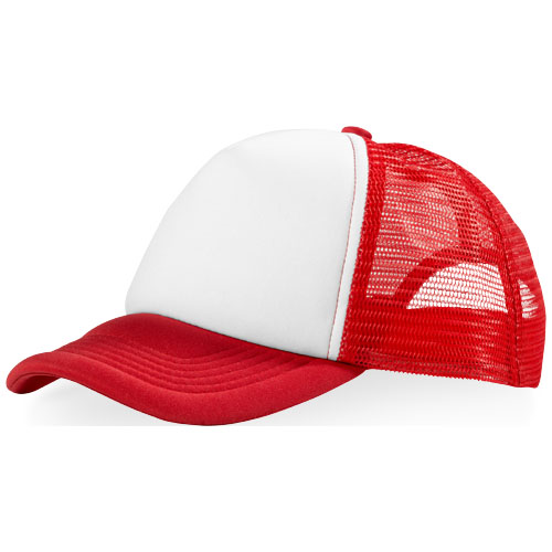 Trucker 5 panel cap in red-and-white-solid
