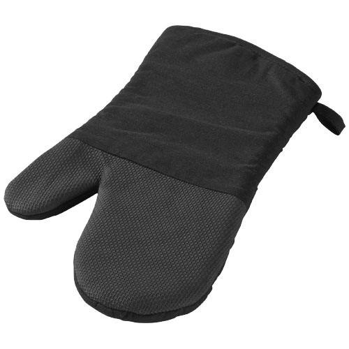 Maya cotton with rubber oven mitt in black-shiny-and-black-solid