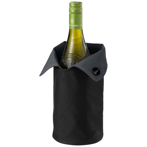 Noron foldable wine cooler sleeve in black-solid-and-grey