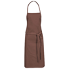 Reeva cotton apron with tie-back closure in brown