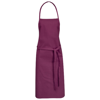 Reeva cotton apron with tie-back closure in burgundy