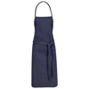 Reeva cotton apron with tie-back closure in navy