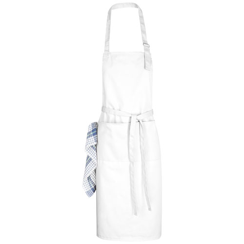 Zora apron with adjustable neck strap in white-solid