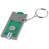 Allegro LED keychain light with coin holder in green-and-silver
