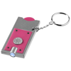 Allegro LED keychain light with coin holder in magenta-and-silver