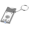 Allegro LED keychain light with coin holder in white-solid-and-silver