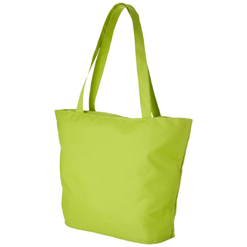 Panama zippered tote bag in lime