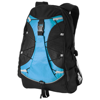 Hikers elastic bungee cord backpack in black-solid-and-aqua-blue