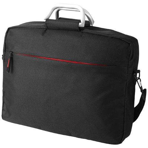 Nebraska 15.4'' laptop briefcase in black-solid-and-red