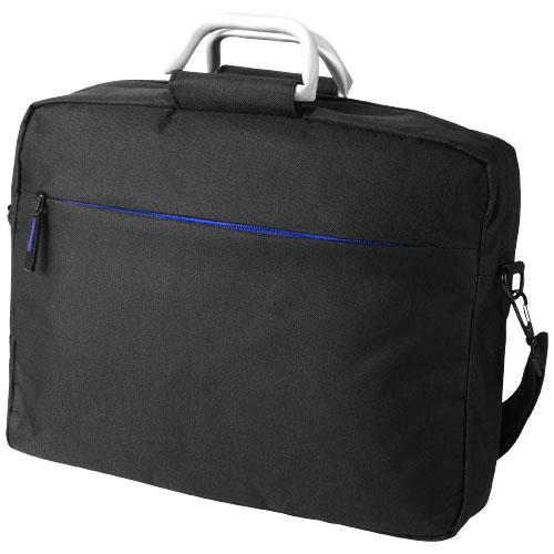 Nebraska 15.4'' laptop briefcase in black-solid-and-royal-blue