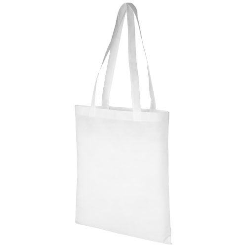 Zeus large non-woven convention tote bag in white-solid