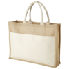 Mumbay cotton pocket jute tote bag in natural