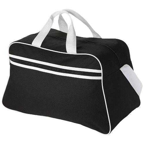 San Jose 2-stripe sports duffel bag in black-solid