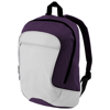 Laguna zippered front pocket backpack in grey-and-plum