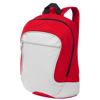 Laguna zippered front pocket backpack in grey-and-red