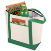 Lighthouse non-woven cooler tote in natural-and-green