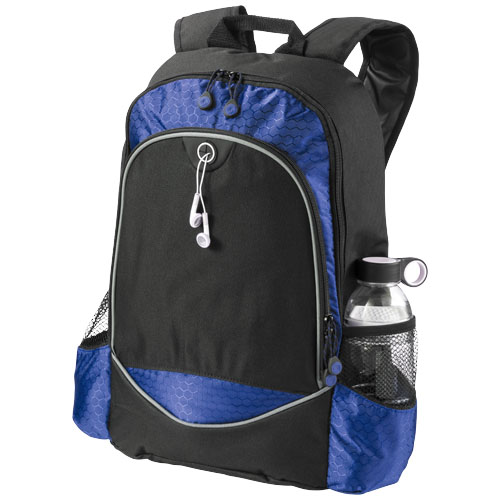 Benton 15'' laptop backpack with headphone port in black-solid-and-royal-blue