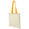 Nevada 100 g/m² cotton tote bag coloured handles in natural-and-orange