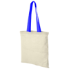 Nevada 100 g/m² cotton tote bag coloured handles in natural-and-process-blue