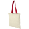 Nevada 100 g/m² cotton tote bag coloured handles in natural-and-red