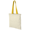 Nevada 100 g/m² cotton tote bag coloured handles in natural-and-yellow