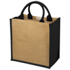 Chennai jute tote bag in natural-and-black-solid