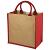 Chennai jute tote bag in natural-and-red