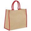Harry coloured edge jute tote bag in natural-and-red
