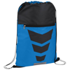 Courtside zippered pocket drawstring backpack in process-blue-and-black-solid
