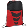 Courtside zippered pocket drawstring backpack in red-and-black-solid