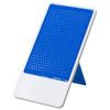 Flip smartphone holder with folding stand in blue-and-white-solid