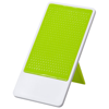 Flip smartphone holder with folding stand in lime-and-white-solid