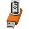 Rotate-doming 2GB USB flash drive in orange-and-silver