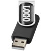 Rotate-doming 4GB USB flash drive in black-solid-and-silver