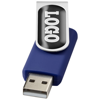 Rotate-doming 4GB USB flash drive in blue-and-silver