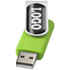 Rotate-doming 4GB USB flash drive in lime-and-silver