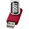 Rotate-doming 4GB USB flash drive in red-and-silver