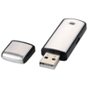 Square 4GB USB flash drive in silver-and-black-solid