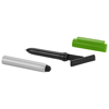 Robo stylus ballpoint pen with screen cleaner in silver-and-green