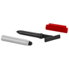 Robo stylus ballpoint pen with screen cleaner in silver-and-red