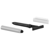 Robo stylus ballpoint pen with screen cleaner in silver-and-white-solid