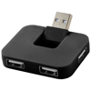 Gaia 4-port USB hub in black-solid